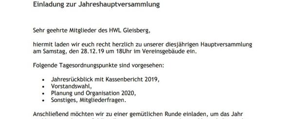 Einladung zur Jahreshauptversammlung